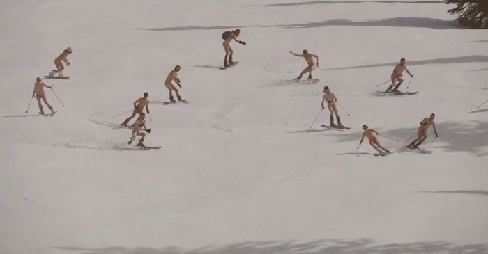 people skiing naked